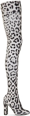 Dolce & Gabbana 105mm Leopard Print Stretch Jersey Boots