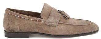 Paul Smith Hilton Signature-stripe Tasselled Suede Loafers - Khaki