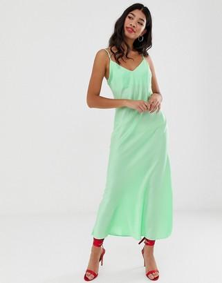 Miss Selfridge maxi slip dress in green