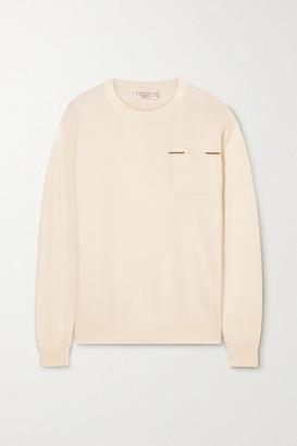 Brunello Cucinelli Bead-embellished Cashmere Sweater - Ivory