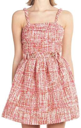 Philipp Plein Tweed Belt Dress