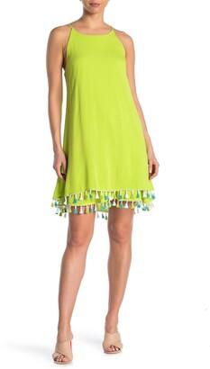 Nina Leonard Tassel Hem Sleeveless Shift Dress