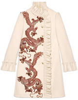 Gucci Dragon embroidered wool coat