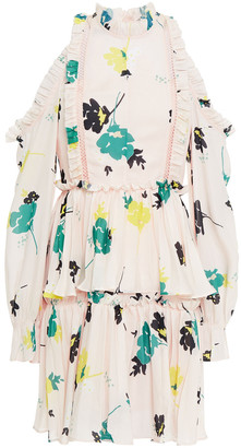 Self-Portrait Cold-shoulder Ruffled Floral-print Crepe De Chine Mini Dress