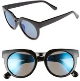 BP Women's 51Mm Round Mirrored Sunglasses - Black/ Blue
