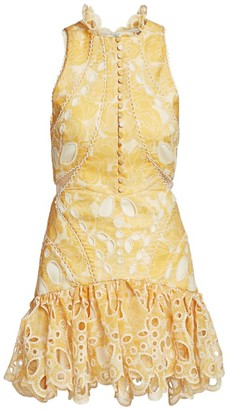 Acler Resort Meredith Embroidery Flounce Mini Dress