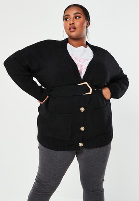Missguided Plus Size Black Longline Belted Cardigan
