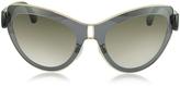 Balenciaga BA0001 01F Grey Acetate & Gold Metal Cat Eye Sunglasses