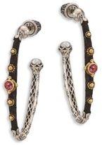 Konstantino Nemesis 5MM White Freshwater Pearl, Pink Tourmaline & 18K Yellow Gold Hoop Earrings/1.75