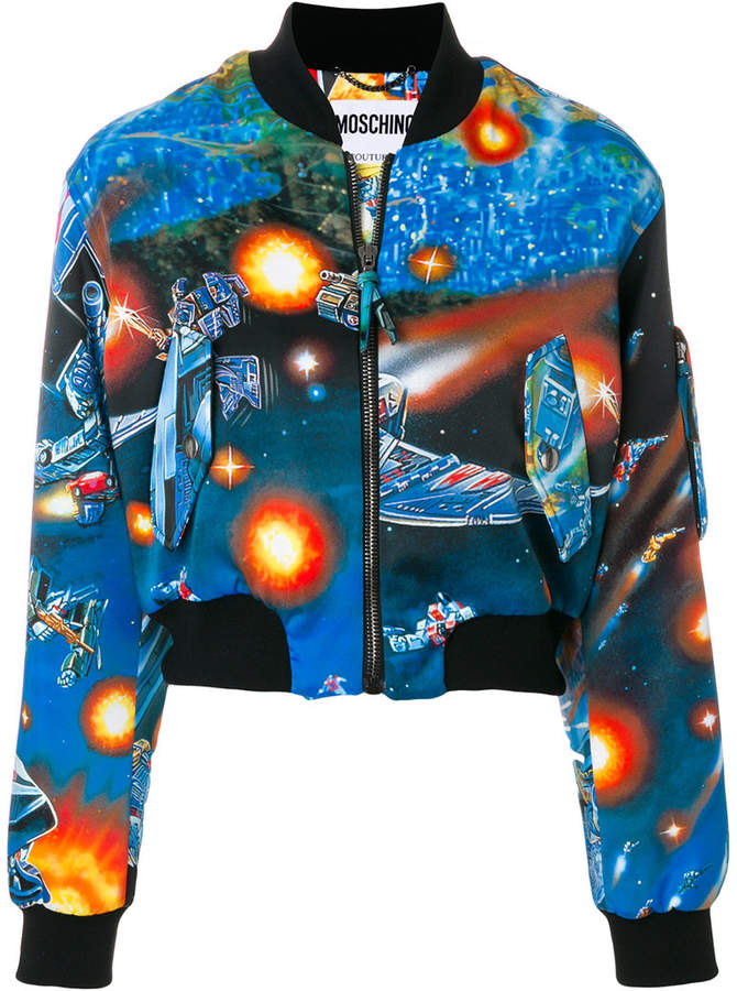 Moschino cropped spaceship print jacket