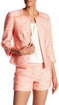 Trina Turk Frayed Mock Neck Long Sleeve Jacket