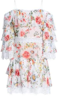 Alice + Olivia Cold-shoulder Floral-print Silk-voile Mini Dress