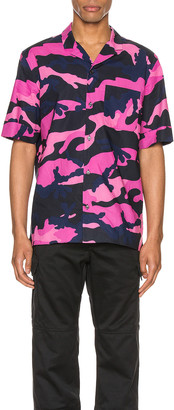 Valentino Short Sleeve Shirt in Navy Camo & Pink | FWRD