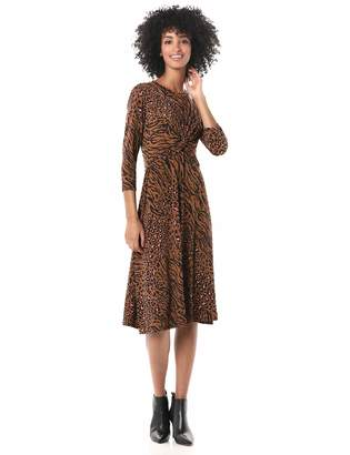 Donna Morgan Women's Long Sleeve Criss Cross Front Animal Printed Jersey Dress