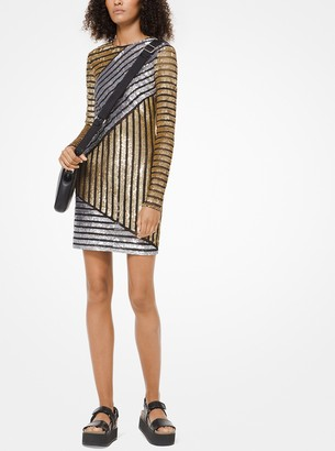 Michael Kors Collection Stripe Sequined T-Shirt Dress