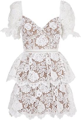 Self-Portrait White Lace Mini Dress