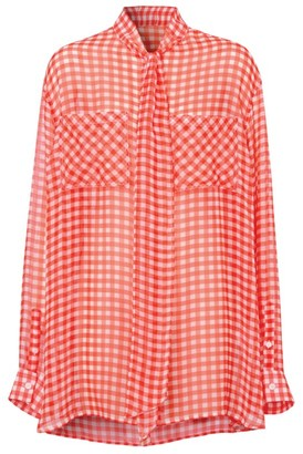 Burberry Gingham Pussybow Blouse