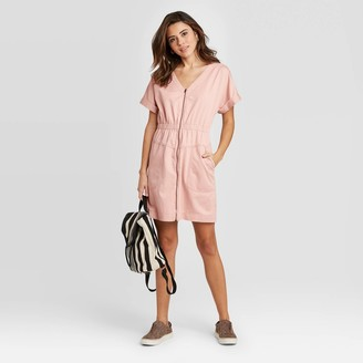 Universal Thread Women's Short Sleeve V-Neck Zip-Up Elastic Waist Dress - Universal ThreadTM