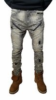 URBANMANIA Men's Hipster Hip Hop Double Wax Coated Moto Skinny Jean Pants (34X33, )