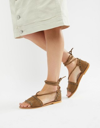 ASOS DESIGN Foster suede studded two part with tie leg