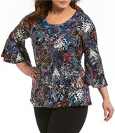 Investments Plus Flutter Sleeve Jewel Neck Top