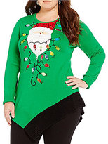 "Berek Plus ""Colorblock Santa"" Christmas Sweater"