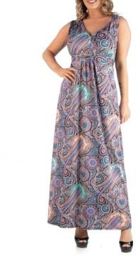 24seven Comfort Apparel Women's Plus Size Paisley Maxi Dress