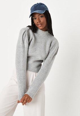 Missguided Grey Marl High Neck Knit Pleat Sleeve Top