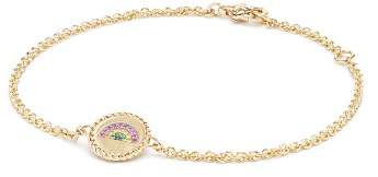 David Yurman Cable Collectibles Rainbow Bracelet with Pink Sapphire, Yellow Sapphire & Tsavorite in 18K Gold