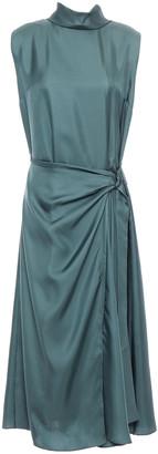 Brunello Cucinelli Buckled Silk-twill Midi Dress