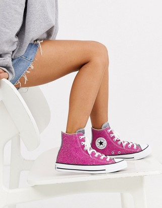 Converse Chuck Taylor Hi pink sparkle glitter trainers