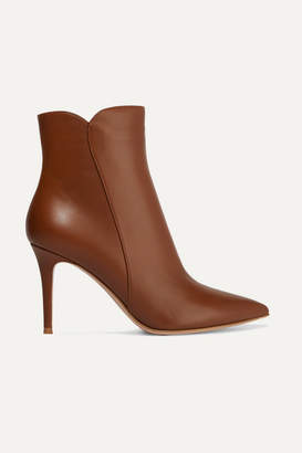 Gianvito Rossi Levy 85 Leather Ankle Boots - Tan