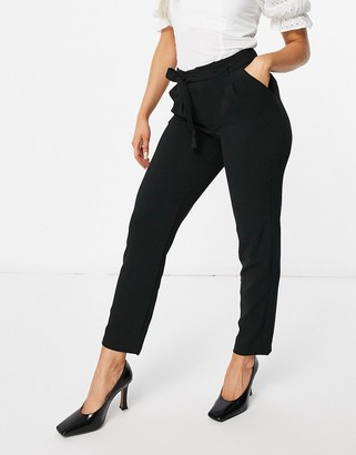 JDY Milo tie-waist pants in black