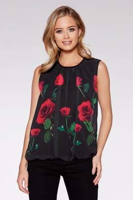 Quiz Black Chiffon Rose Print Top