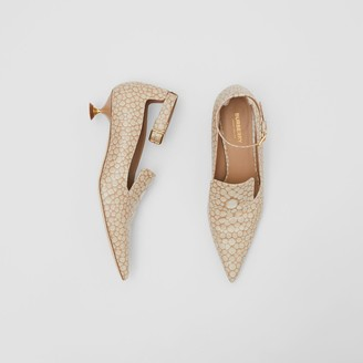 Burberry Stingray Print Leather Point-toe Kitten-heel Pumps