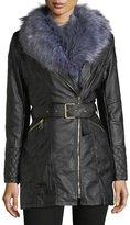 Love Token Faux-Leather Jacket w/ Faux-Fur Trim