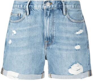 Frame Le Beau distressed denim shorts