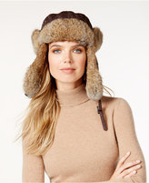 Surell Rabbit Fur Trim Visor Quilted Trooper Hat
