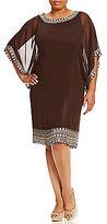 J Kara Plus Beaded Chiffon Dress