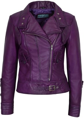 Smart Range Ladies Supermodel Purple Rock Biker Style Designer Real Nappa Leather Jacket (14)