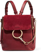 Chloé Faye Small Leather And Suede Backpack - Burgundy
