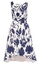 Quiz White Satin Floral Print Dip Hem Prom Dress