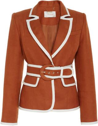Zimmermann Belted Two-Tone Linen Blazer