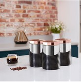 Tower Linear Rose Gold Set of 3 Storage Canisters Black