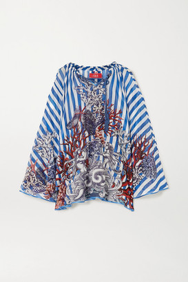 F.R.S For Restless Sleepers Ofione Printed Cotton And Silk-blend Poncho - Blue