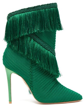 Aquazzura Soutage 105 Fringed Point-toe Satin Boots - Green