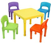 Liberty House Toys Children's Table and 4 Chairs Set, Plastic, Multi-Colour