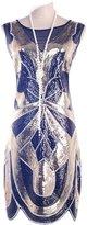 Vikoros 1920s Vintage Charleston Downton Gatsby Sequin Embellished Flapper Dress