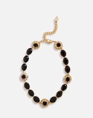 Dolce & Gabbana Short Rhinestone Necklace With Decorative Details