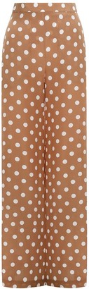 Zimmermann Silk Wide Leg Pant in Tan/Pearl Dot